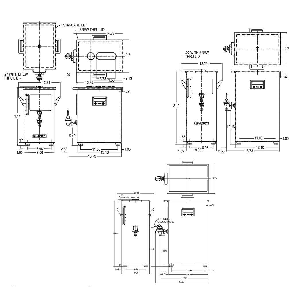 Bunn TD4 Dispenser w/Solid Lid 4Gal (15.1L) Square Style Iced Tea & Coffee Dispenser
