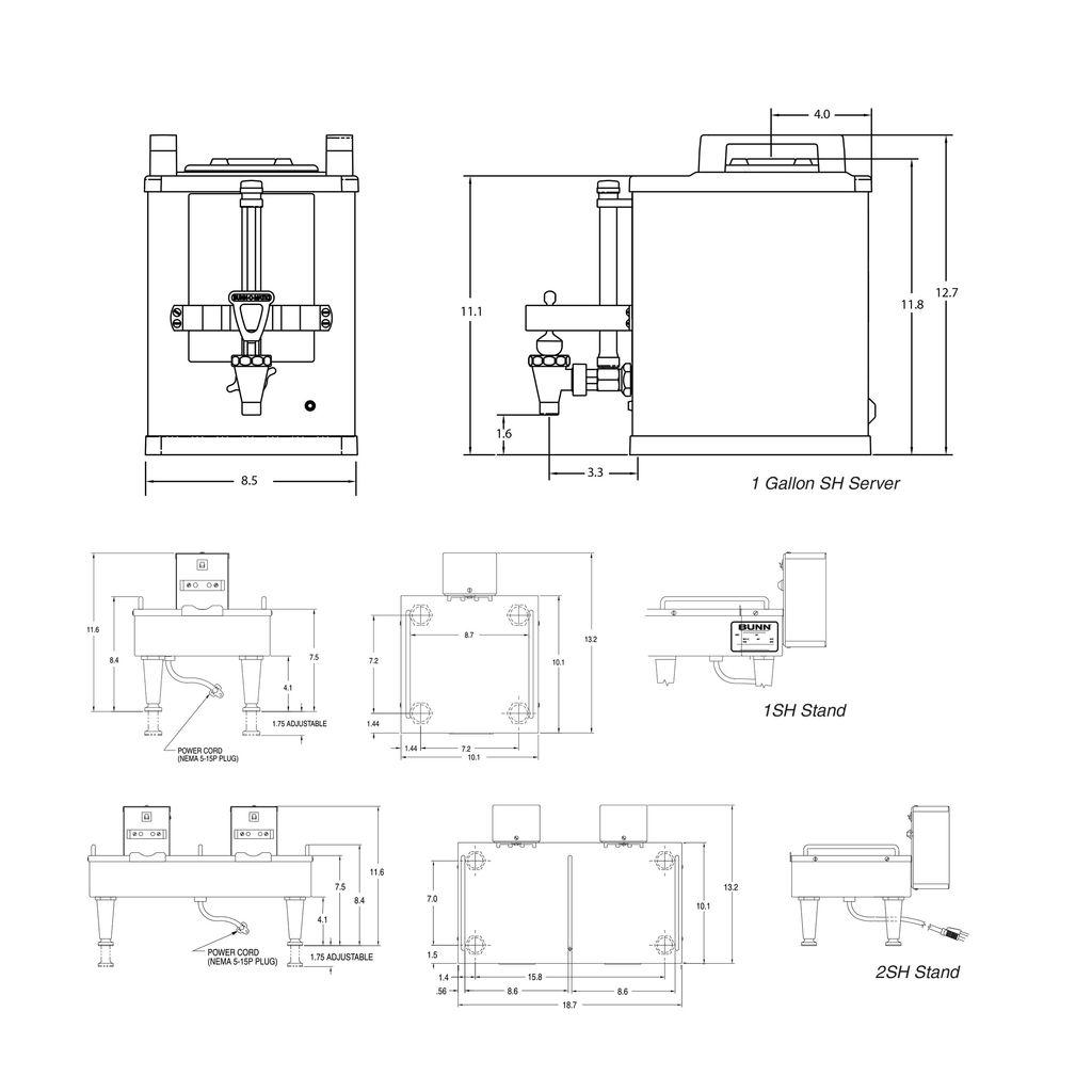 Bunn 1SH Soft Heat Stand Stainless Single Soft Heat® Docking System