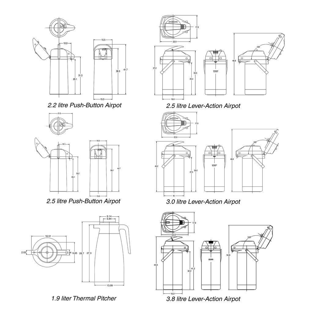 Bunn 2.2L (74oz) Push Button Airpot Portable Server - 6-pack