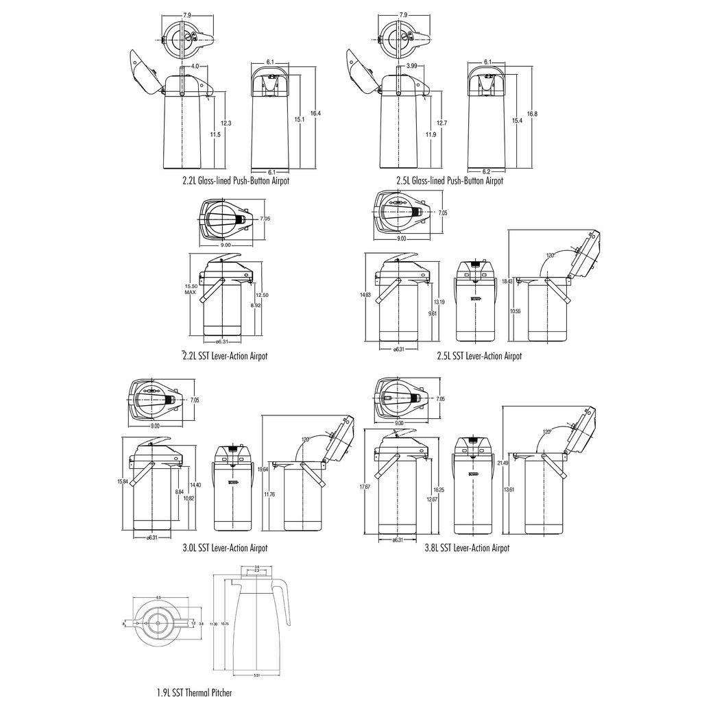Bunn 2.2L (74oz) Lever Action Airpot Portable Server - 6-pack