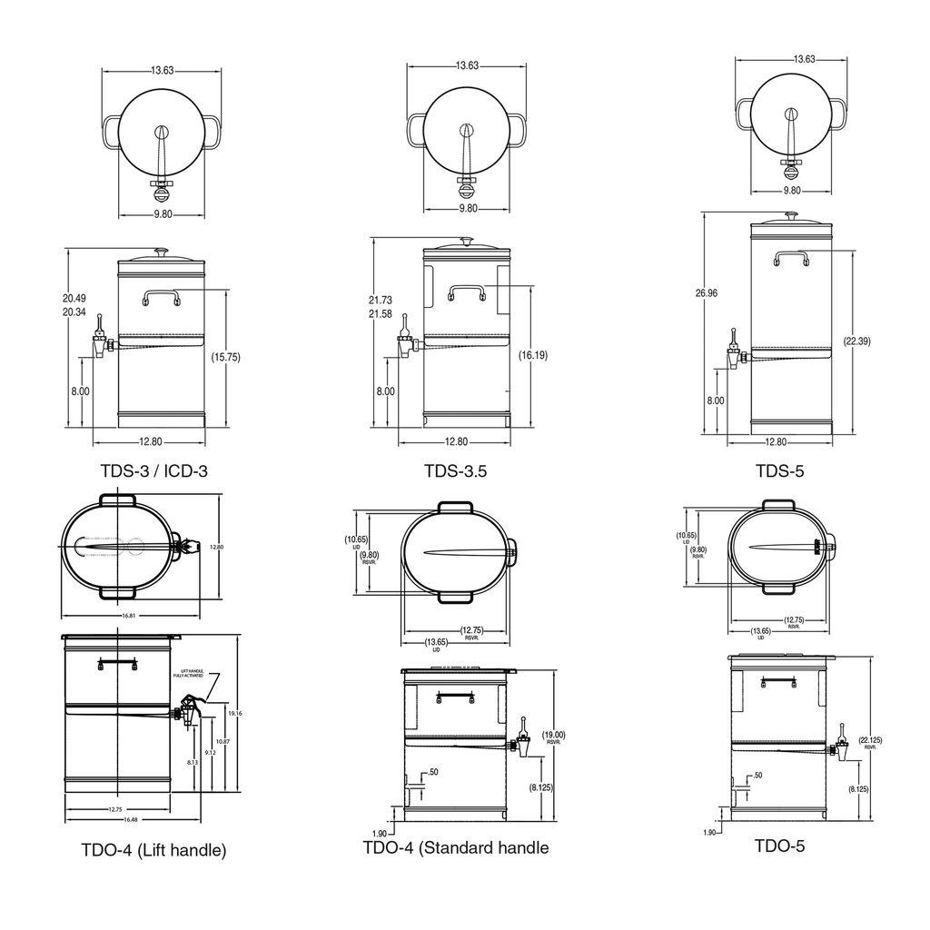 Bunn TDO-5 Dispenser w/Brew-Thru Lid 5Gal (18.9L) Square Style Iced Tea & Coffee Disp w/Brew-Thru Lid