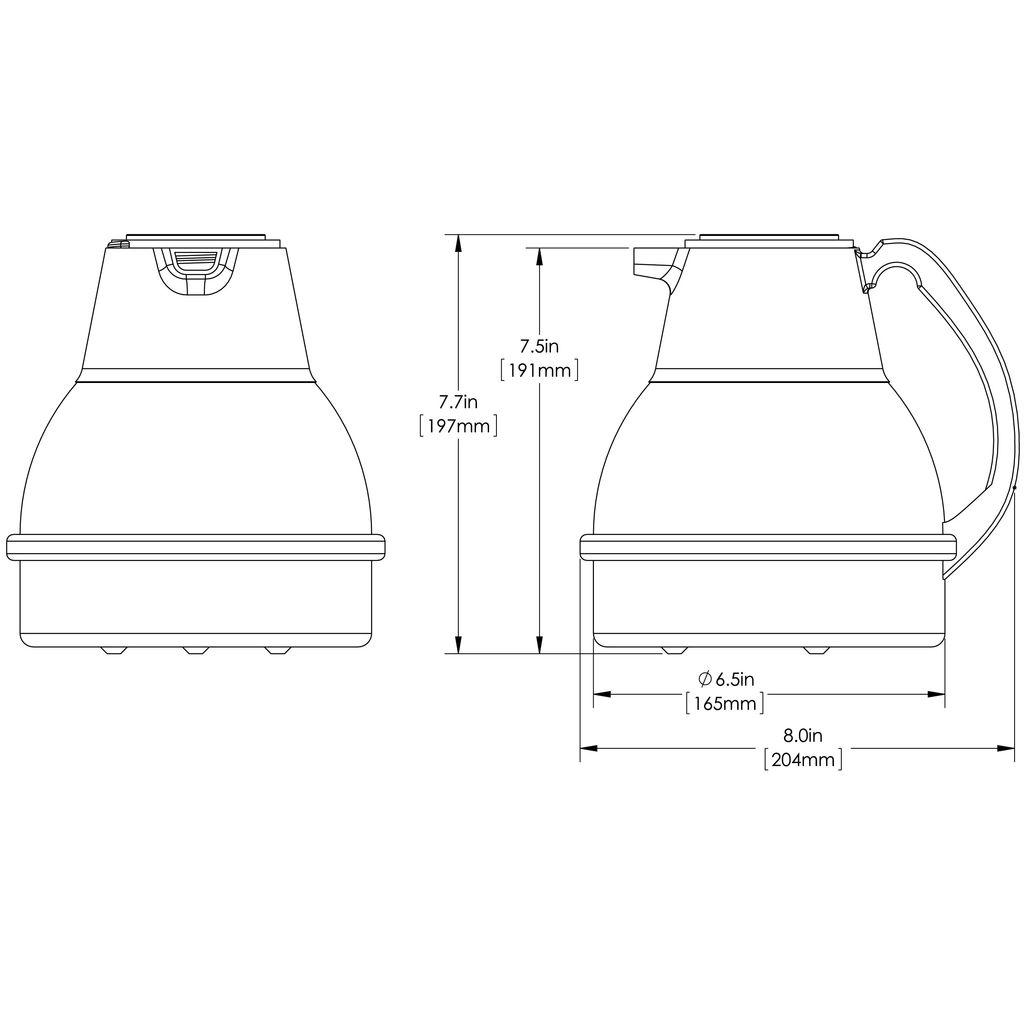 Bunn 64oz (1.9L) Thermal Carafe Portable Server, Black - 12-pack