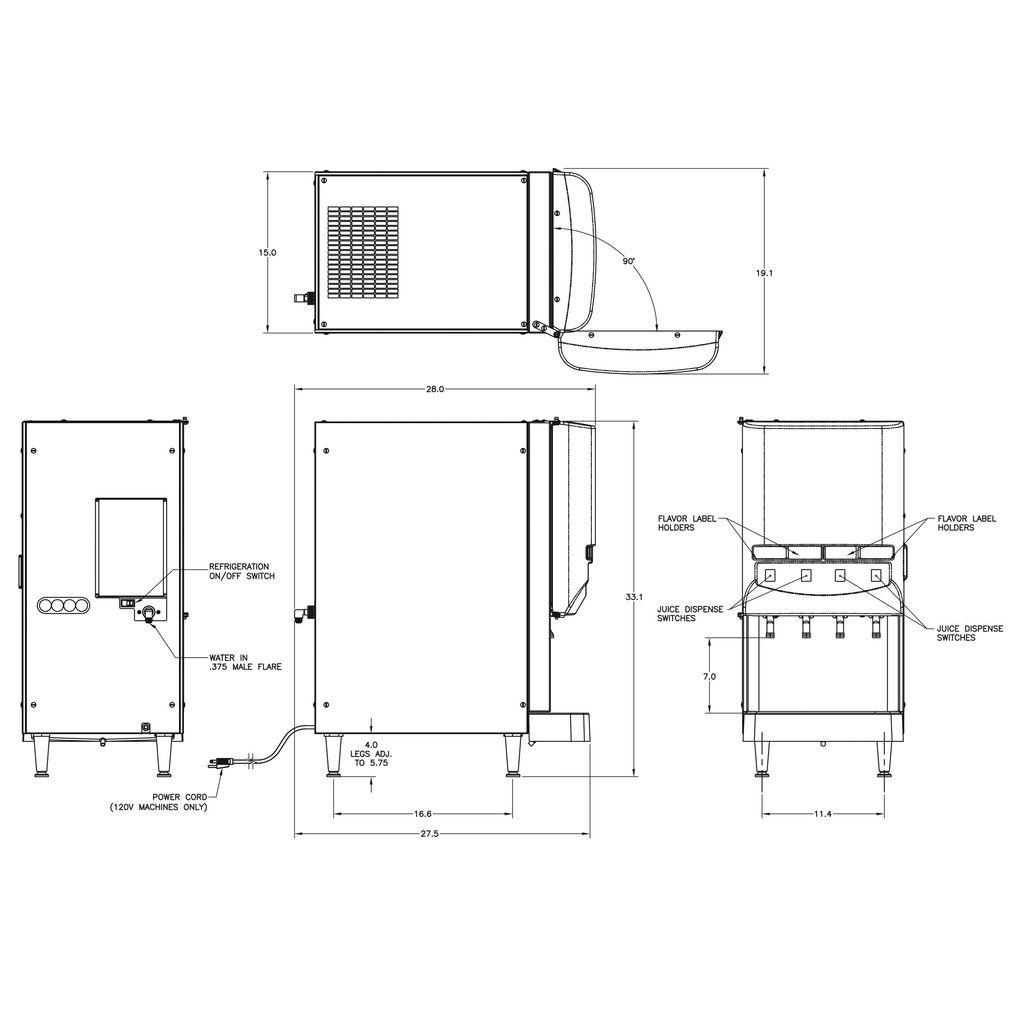 Bunn JDF-4S Lit Door Silver Series® 4-Flavor Cold Bev System w/LED & Portion Control