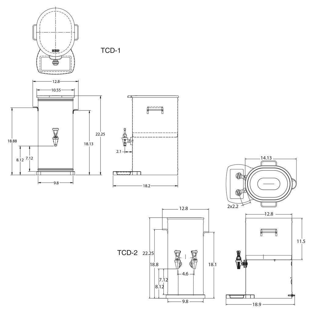 Bunn TCD-2 w/2 Nozzles & Solid Lid Tea Concentrate Dispenser
