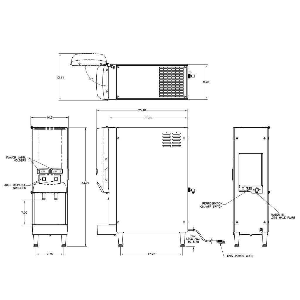 Bunn JDF-2S Lit Door Silver Series® 2-Flavor Cold Bev System w/LED Lighted Graphics