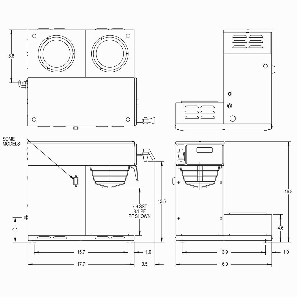 Bunn AXIOM-DV-3 (3 Lower Warmers) AXIOM® 12 Cup Dual-Voltage Coffee Brewer with 3 Warmers