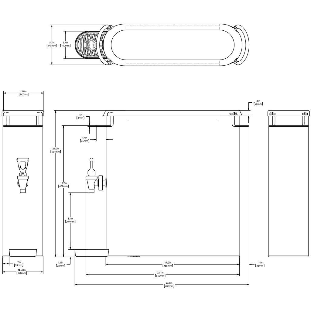 Bunn TDO-N-4 Dispenser w/Solid Lid 4Gal (15.1L) Oval Style Narrow Iced Tea & Coffee Disp
