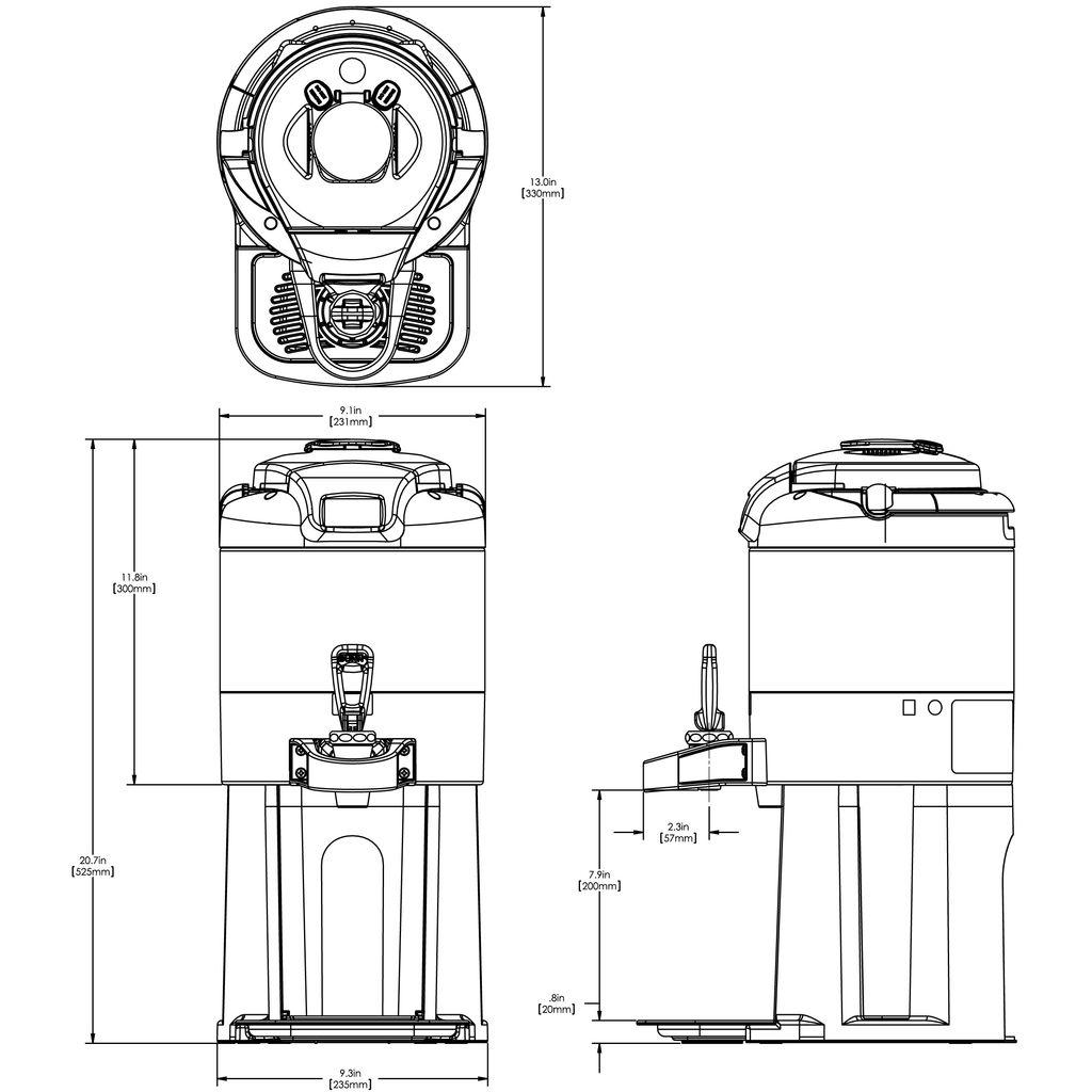 Bunn 1Gal (3.8L) ThermoFresh® Digital Sight Gauge Portable Server w/Base Stainless Steel