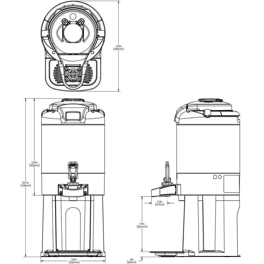 Bunn 1.5Gal (5.7L) ThermoFresh® Digital Sight Gauge Portable Server w/Base Stainless Steel