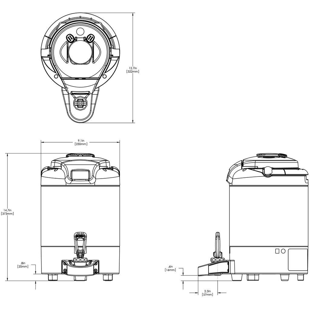 Bunn 1.5Gal (5.7L) ThermoFresh® Digital Sight Gauge Portable Server w/o Base Black