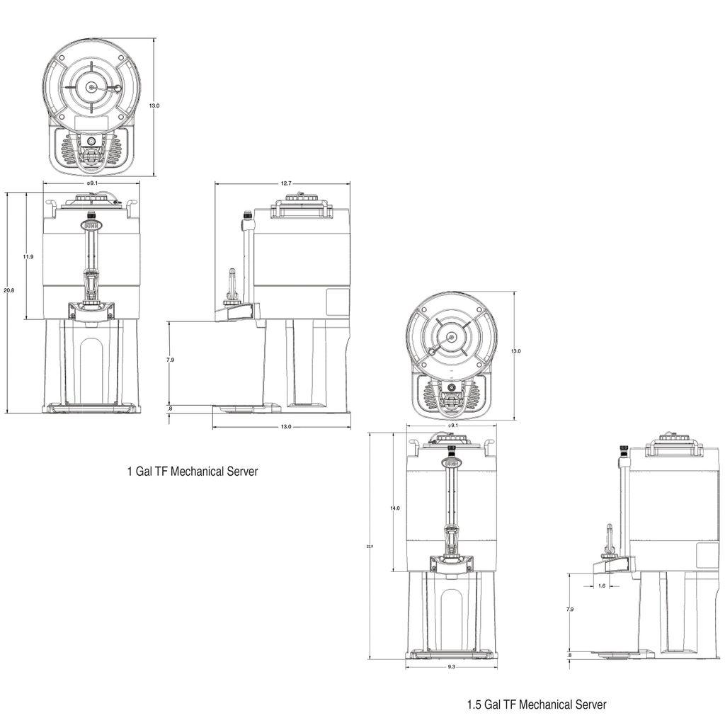 Bunn 1Gal (3.8L) TF ThermoFresh® Mechanical Sight Gauge Portable Server w/Base, Black