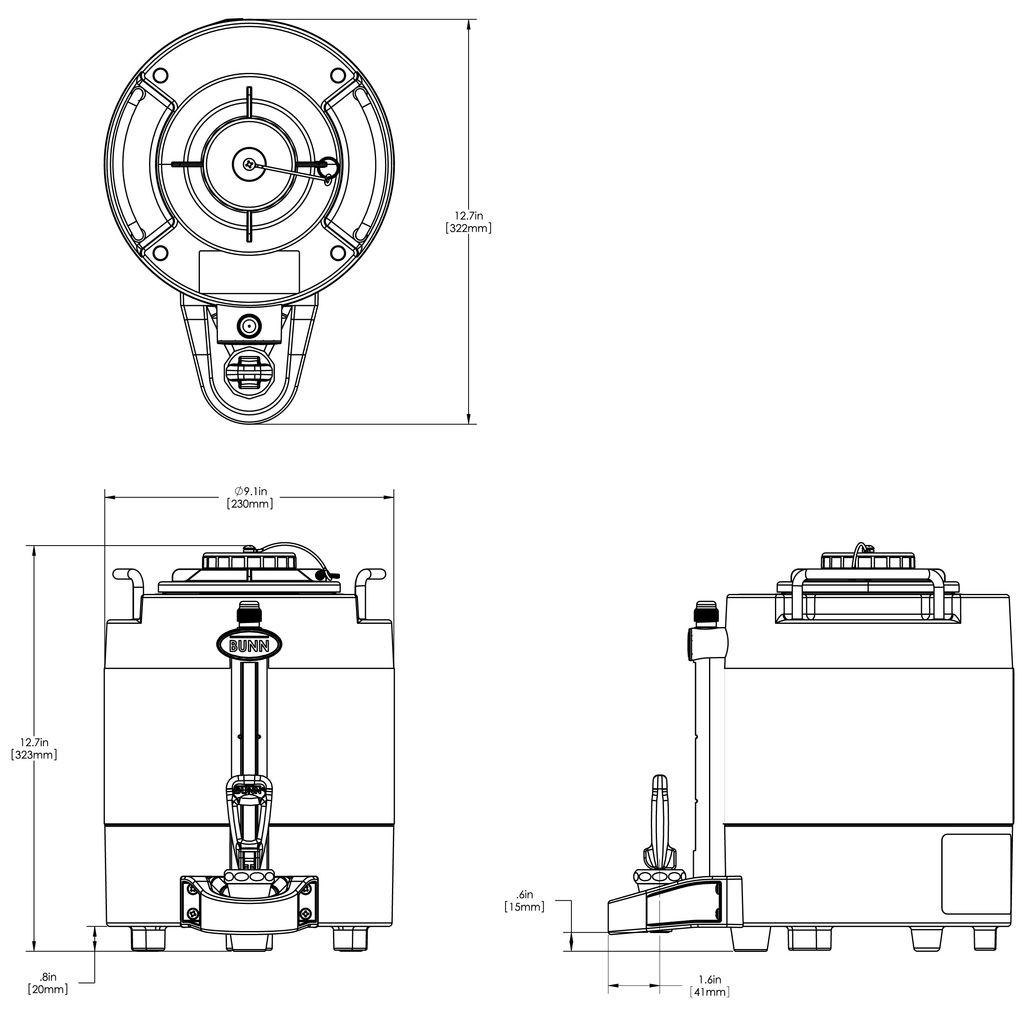 Bunn 1Gal (3.8L) TF ThermoFresh® Mechanical Sight Gauge Portable Server w/o Base, Black