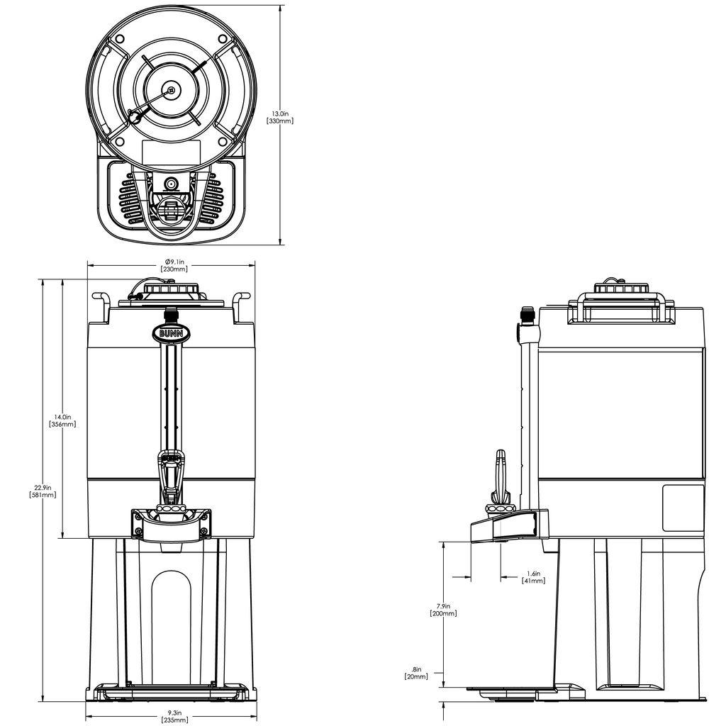 Bunn 1.5Gal (5.7L) TF ThermoFresh® Mechanical Sight Gauge Portable Server w/Base, Black