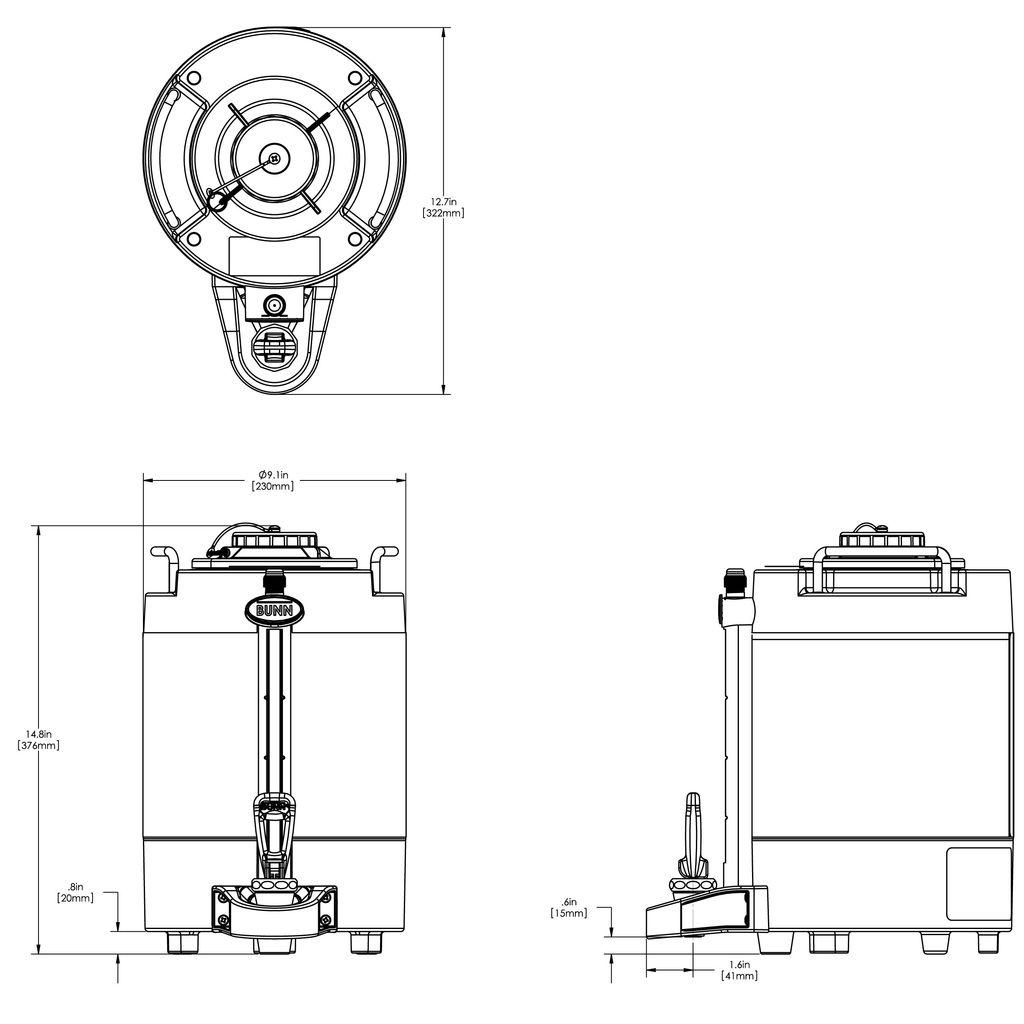 Bunn 1.5Gal (5.7L) TF ThermoFresh® Mechanical Sight Gauge Portable Server w/o Base, Black