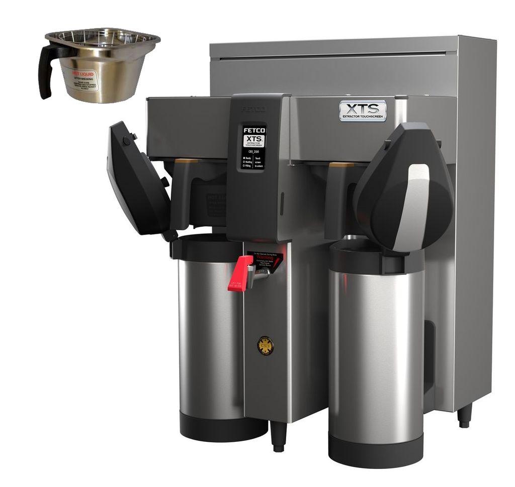 Fetco CBS-2132-XTS Twin Coffee Brewer, Metal Brew Baskets, 2.3 kW Heaters