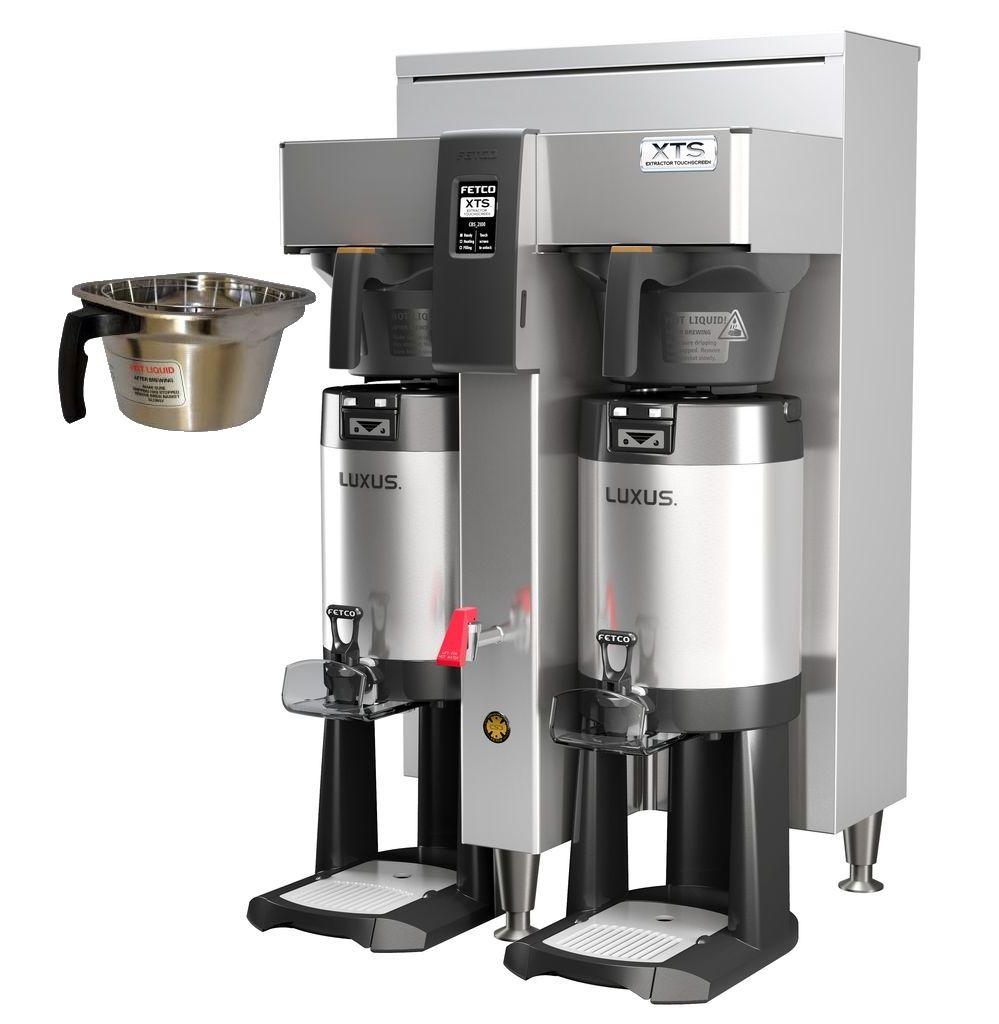 Fetco CBS-2152-XTS Twin Coffee Brewer, Plastic Brew Baskets, 5.0 kW Heaters