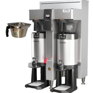 Fetco CBS-2152-XTS-2G Twin Coffee Brewer, Plastic Brew Baskets, 5.0 kW Heaters